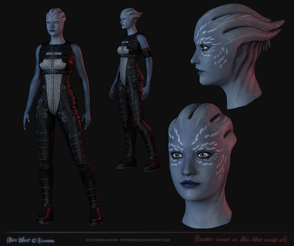 Asari concept art model by elyhumanoid