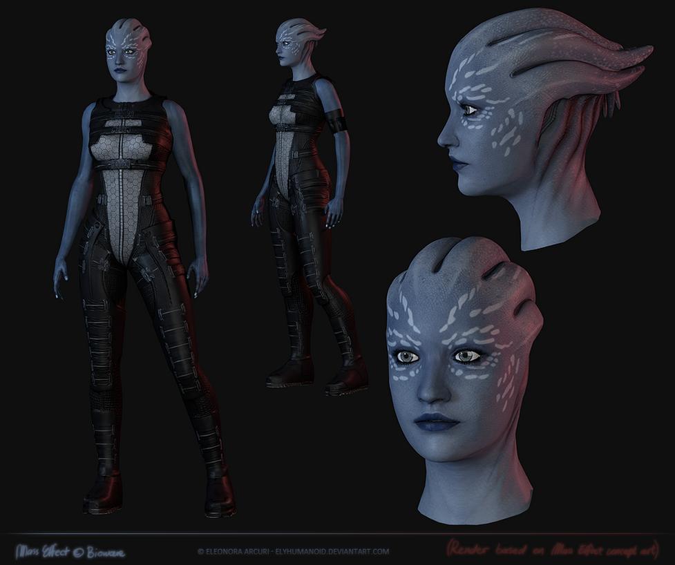 Asari concept art model by elyhumanoid