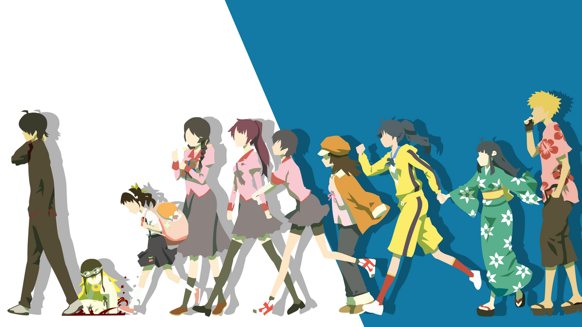 Monogatari Minimalist March of the Oddities by Yuki-Neh