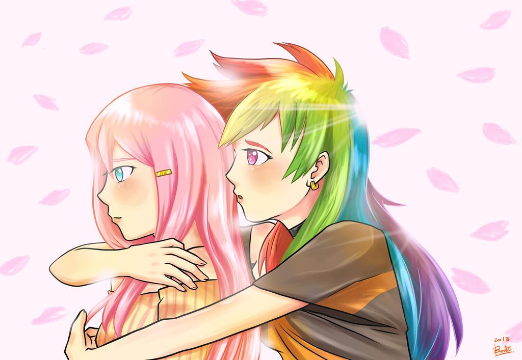 EQG yuri: Fluttershy X Rainbow Dash #1 by benkomilk on ...