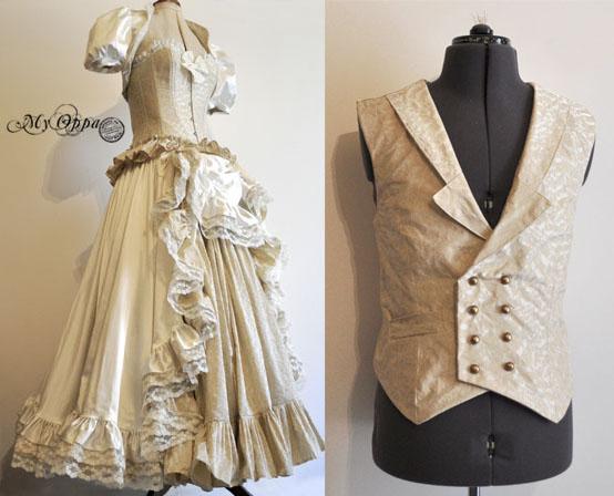 wedding dress and waistcoat (custom order :)) by myoppa-creation