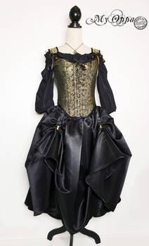Dame steampunk gold/black
