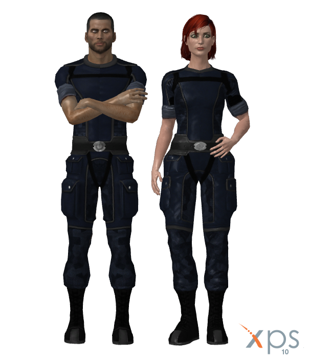 Default Shepard in ME1 Fatigues for XPS