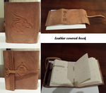 Finished leather covered book