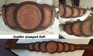 Leather stamped belt
