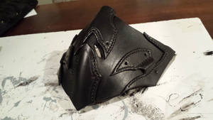 New leather facemask WIP - Stitched and dyed