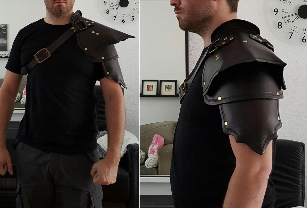 Black leather shoulderguard