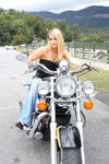 stock Blonde girl  Motorcycle