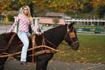 stock Blonde girl on  horse
