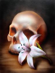 Progress 3 Skull and flower by teedark