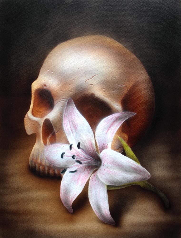 Progress 3 Skull and flower by teedark on DeviantArt