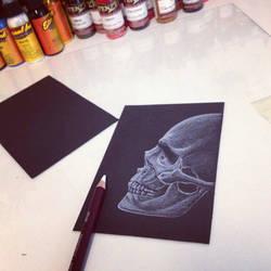 Skull white on black drawing by teedark