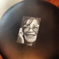 Janis Joplin white on black drawing by teedark