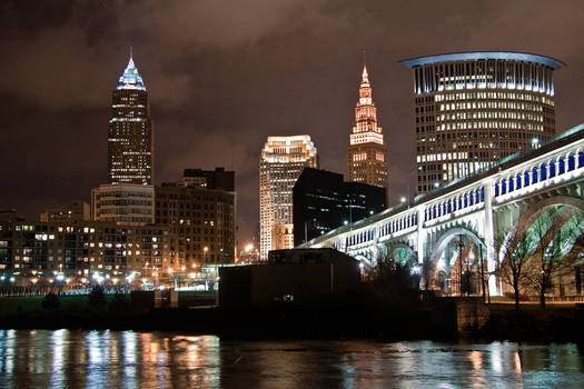 Riverbed view of Cleveland