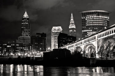 Riverbed view of Cleveland BW