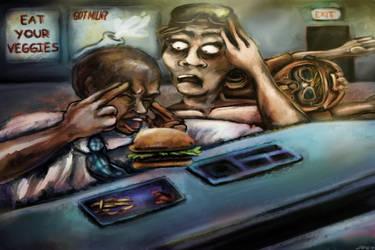 Clash Eats A Burger by jessdel