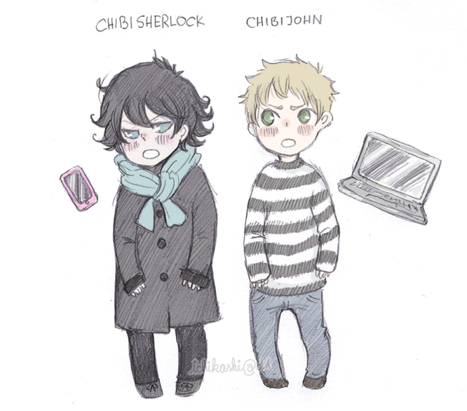 CHIBI SHERLOCK and JOHN by pearsfears