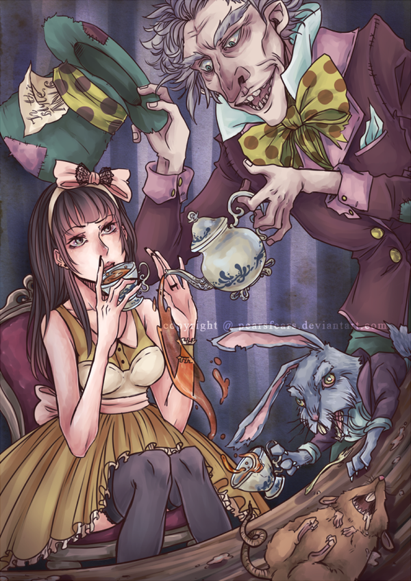 Alice and the Mad Hatter by pearsfears