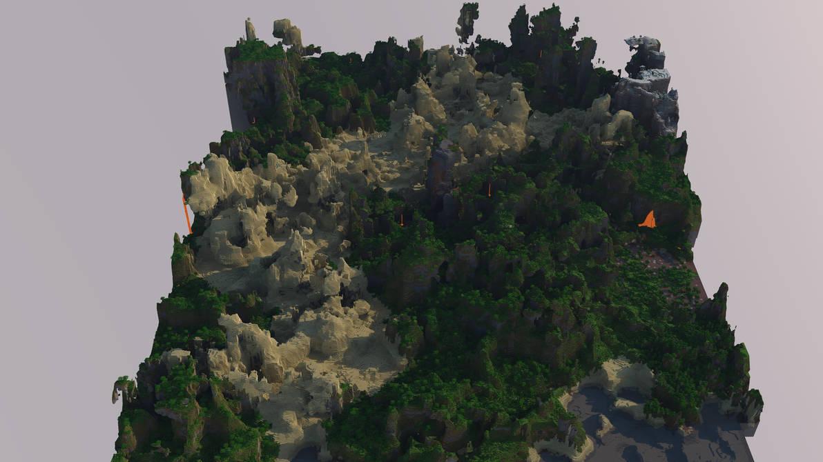 New terrain generation Minecraft 1 7 3D Big render by Duning