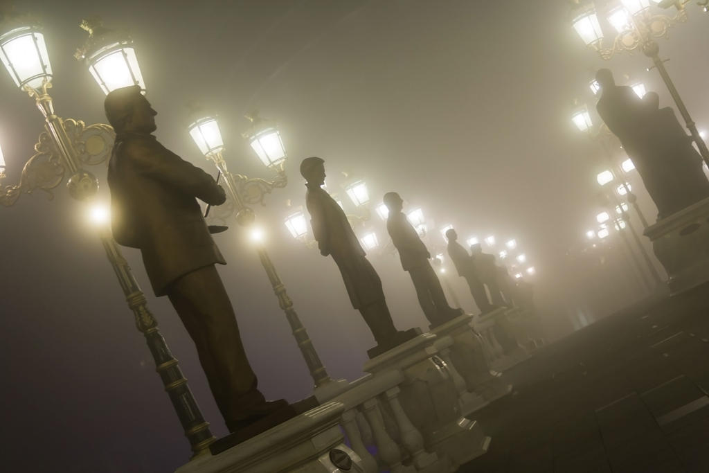 art bridge on a foggy night, skopje.... by dardaniM