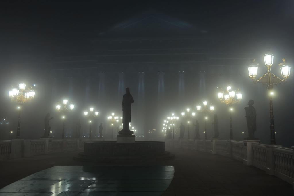 eye bridge on a foggy night, skopje by dardaniM