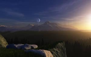 Sunset Mountains by Smattila
