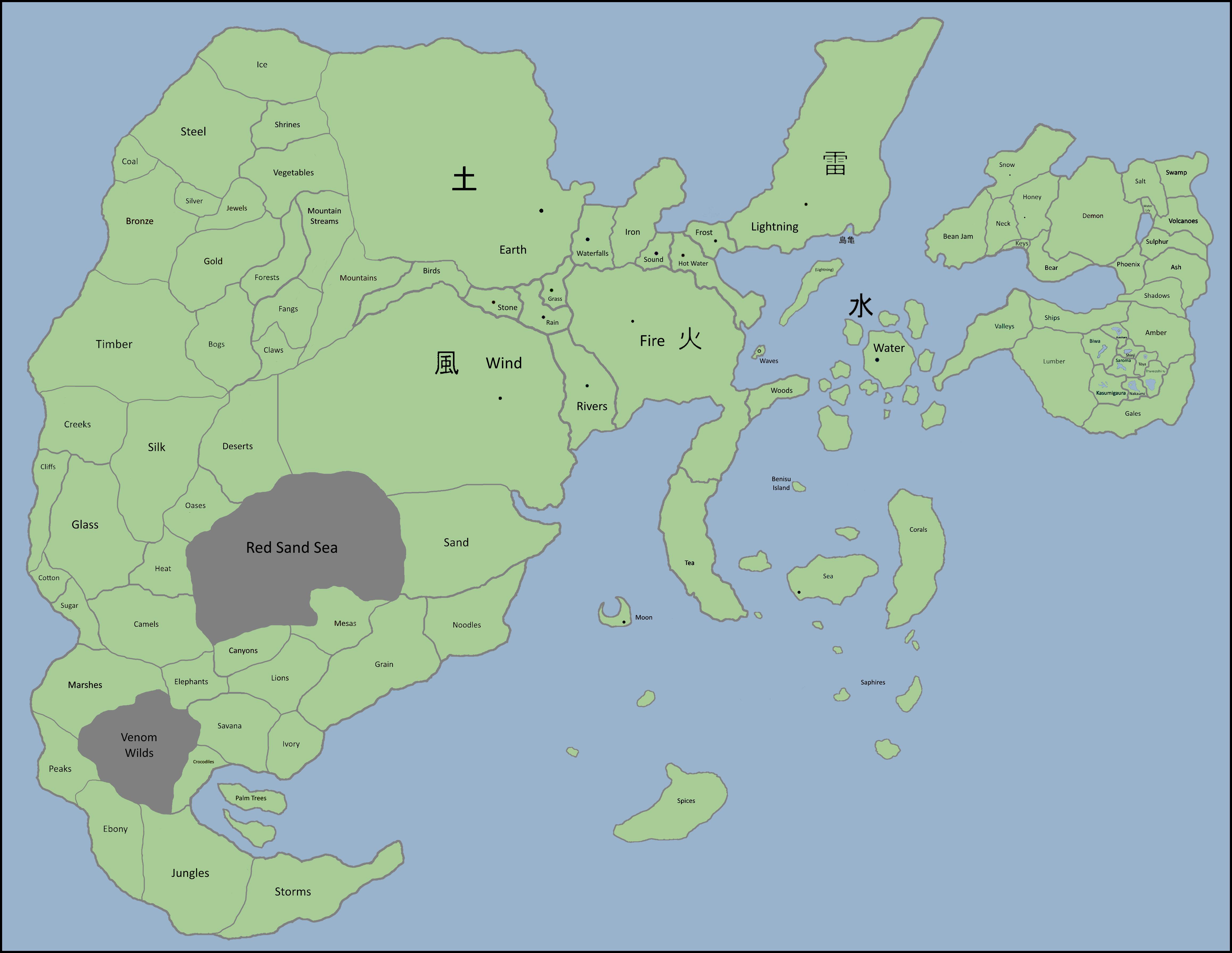 Naruto World Map - Canon by Eruaniel on DeviantArt