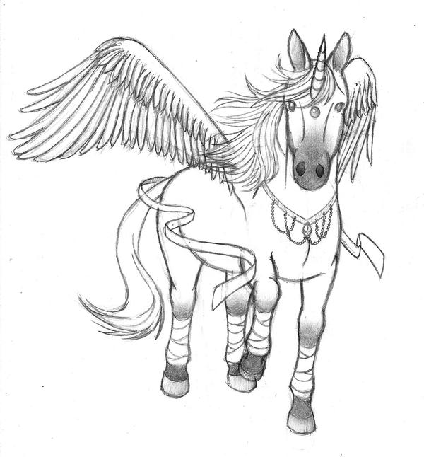 Winged unicorn pencil drawing by nether25