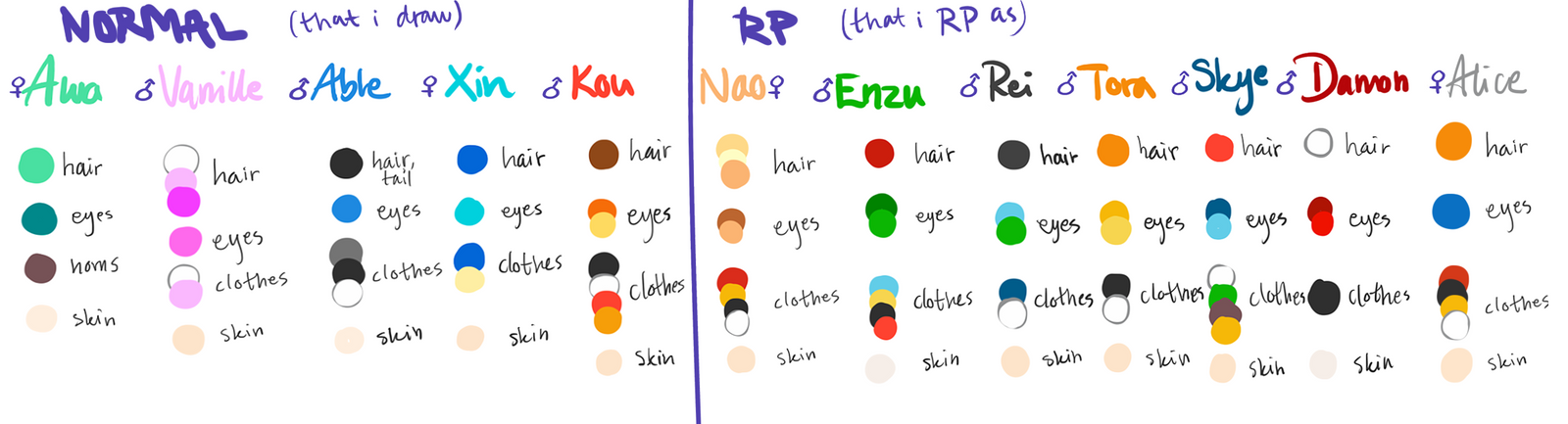 OC Color Palettes by Kawaiishi