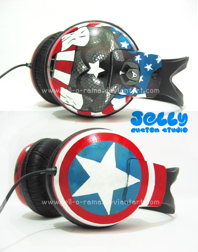 Captain America headphone by PoppinCustomArt