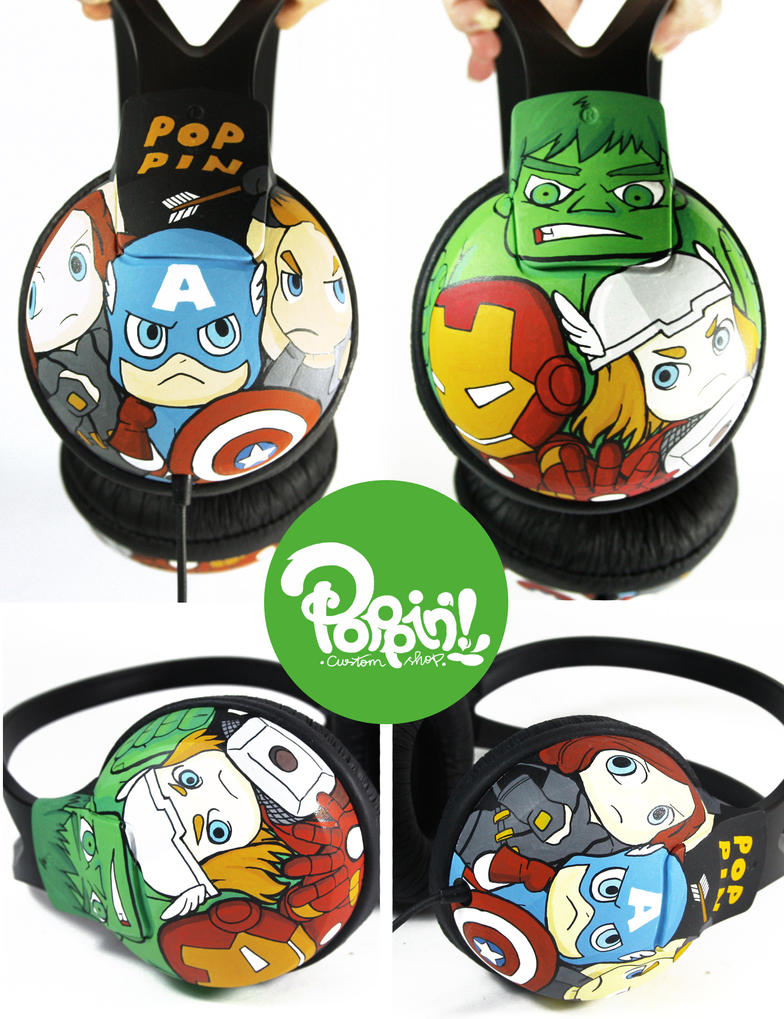 The Avengers Headphone by PoppinCustomArt