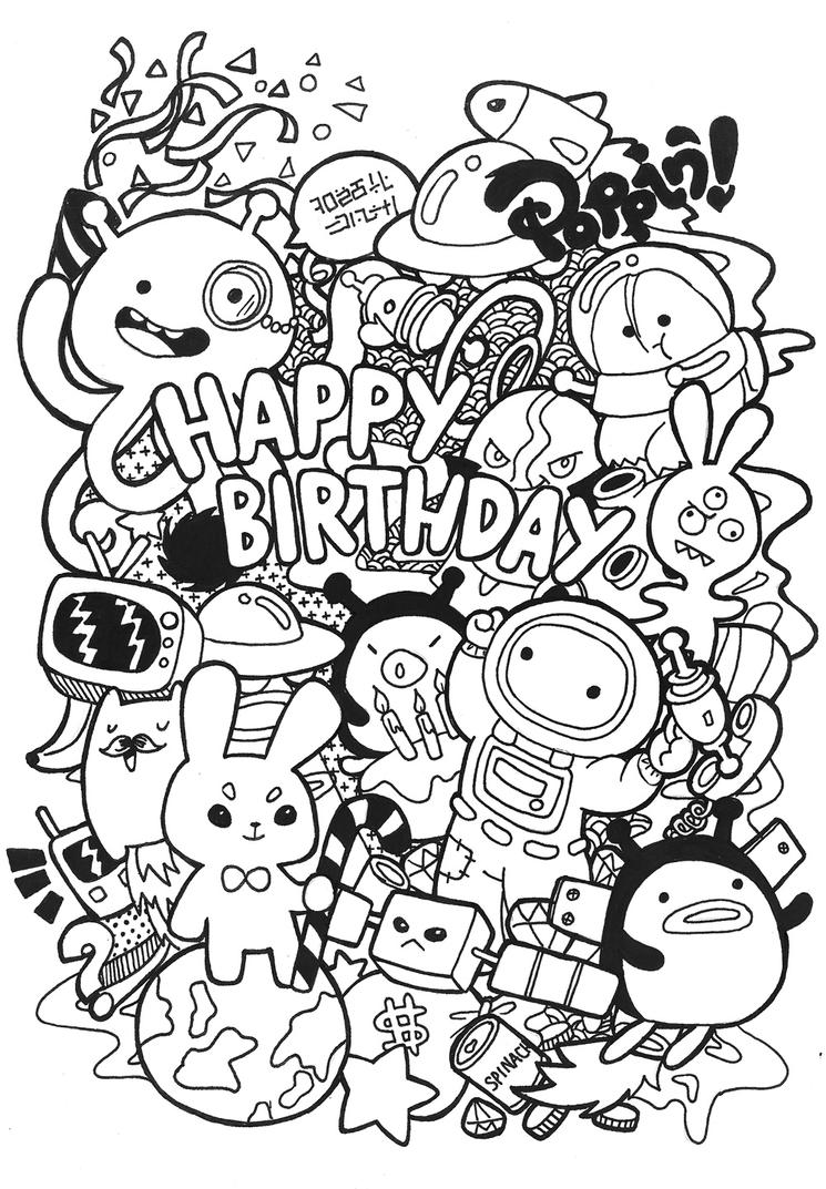 Coloring Pages For Adults Happy Birthday : Birthday doodle by poppincustomart on deviantart