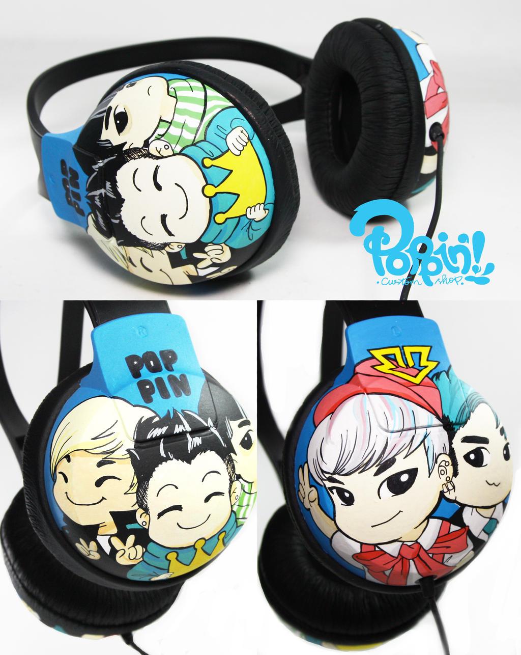 Bigbang Chibi Headphone by PoppinCustomArt