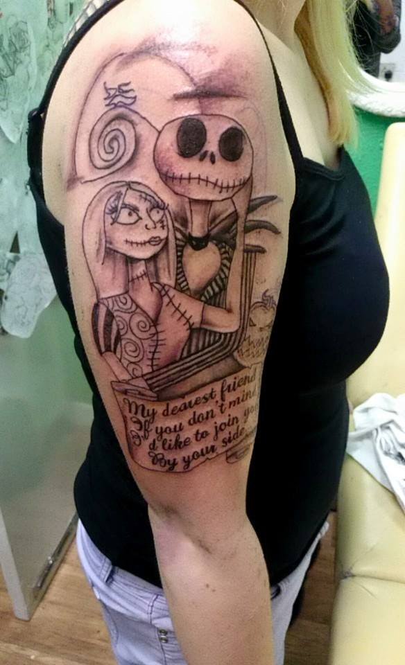 f79b965f0 jack and sally half sleeve tattoo by kimberleywarrentatto