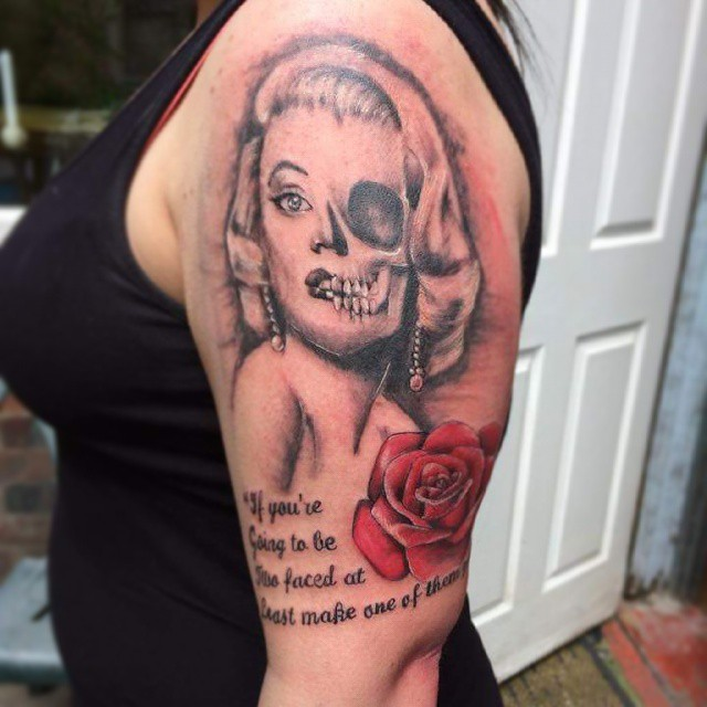 Marilyn monroe tattoo by kimberleywarrentatto on deviantart for Marilyn monroe skull tattoos
