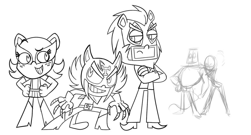 The Tigre  Triplets Line Art by theX-plotion
