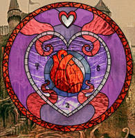 Queen of Hearts stain glass by raymond31415