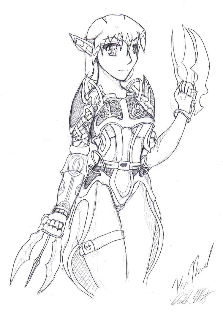 Anime Elf Warrior Coloring Pages Sketch Coloring Page