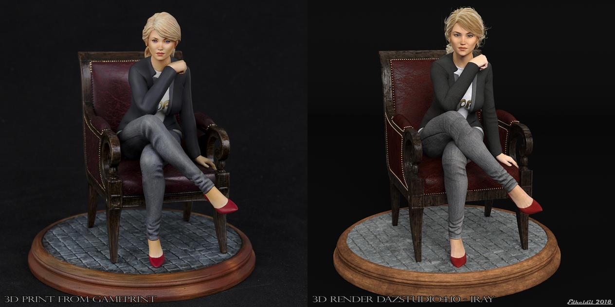 3D Print vs 3D Render Comparison of Cathy by Edheldil3D