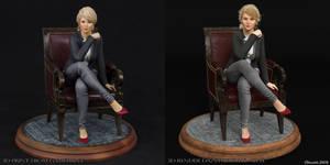 3D Print vs 3D Render Comparison of Cathy