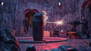Destroying the portal monolith!