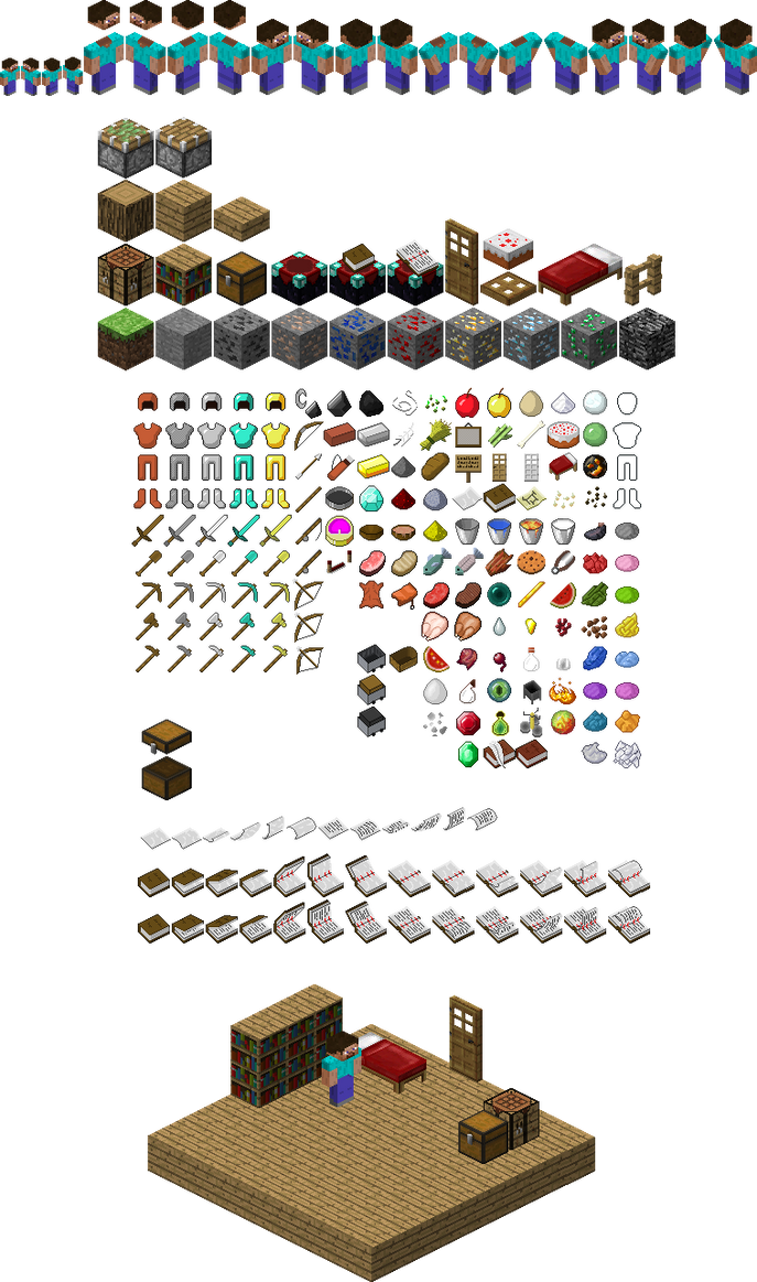 Isometric Minecraft Sprites By Mariomaster102 On Deviantart