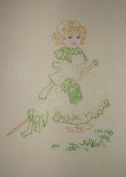 girl with parasol embroidery by kjbrasda