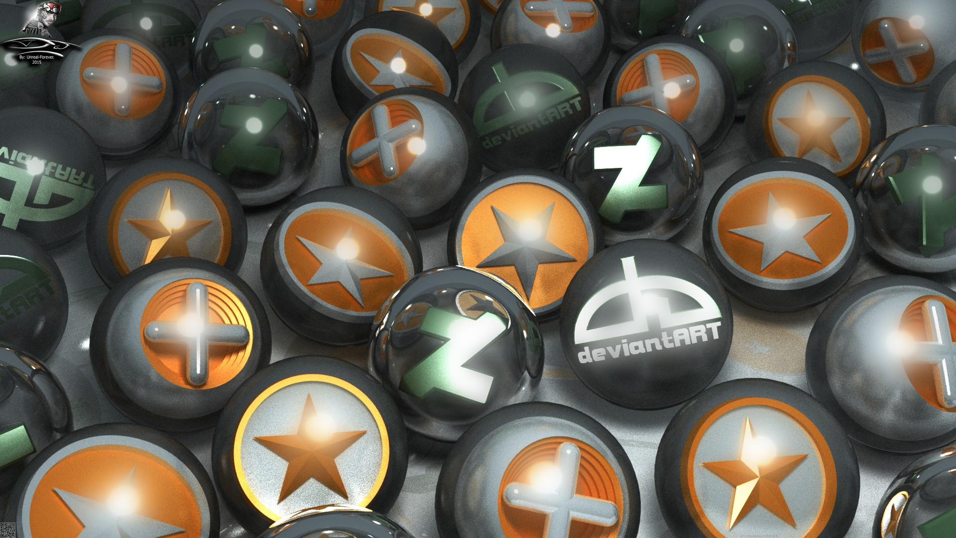 Some DeviantART logos (3D GPU render) by Unreal-Forever