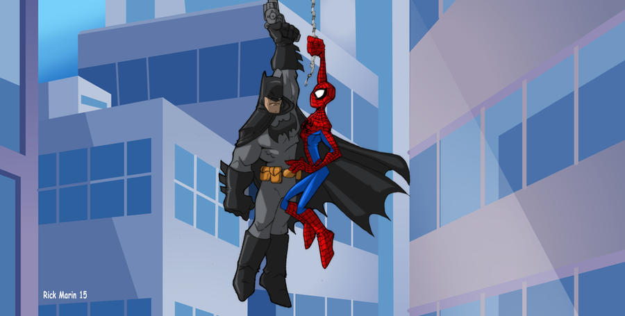 Spiderman meets Batman by Misterho