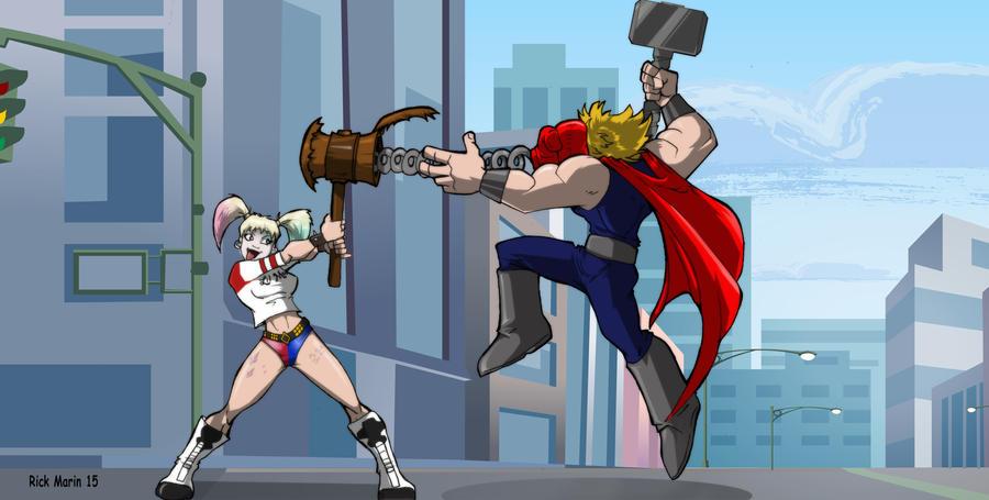 Harley Quinn v Thor by Misterho