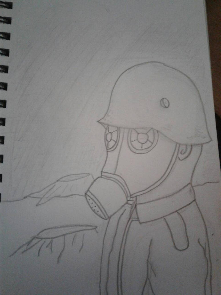 German Soldier with a gas mask by Unwindmind