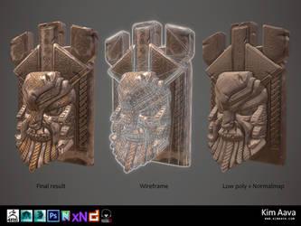 Nordic Environmet - Viking head stone by Mad-Owl