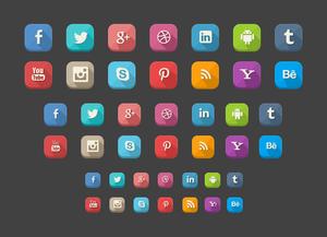 42 Long Shadow Social Icons FREE .PSD