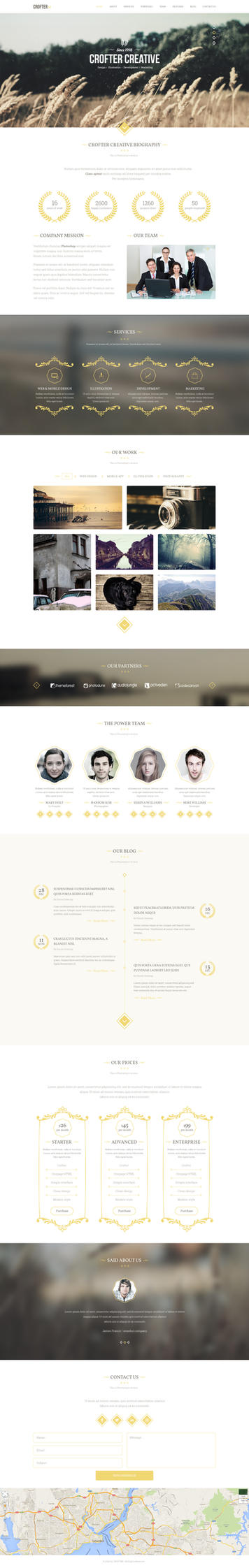 Crofter One Page PSD Template by emrah-demirag